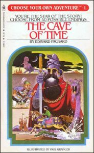 "Scan of the cover to ""The Cave of Time"" by Edward Packard, published by Bantam Books in 1979. This is the first choose your own adventure game book."