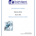 Youth Criminal Justice Act Roundtable: Submission of John Howard Societies in Alberta (May 21, 2008)