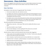 NEWC0101 - Newcomers: Class Activities